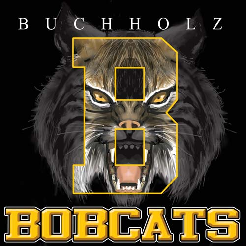 bobcats high school letter and mascot tee - 9, 57 Tee