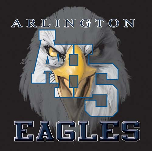 eagles high school letter and mascot tee - 9, 57 Tee