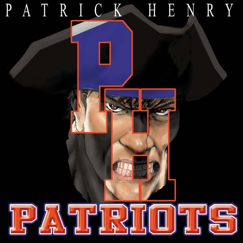 patriots high school letter and mascot tee - 16, 19 Tee