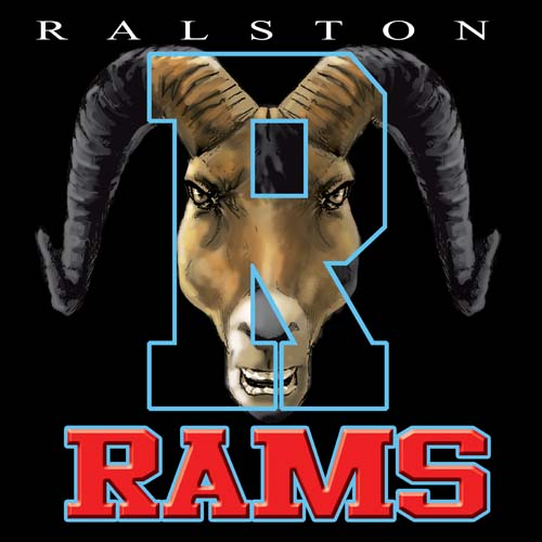 rams high school letter and mascot tee - 16, 19 Tee
