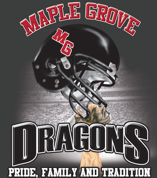 dragons football helmet and spirit t-shirt - 6, 39 Tee