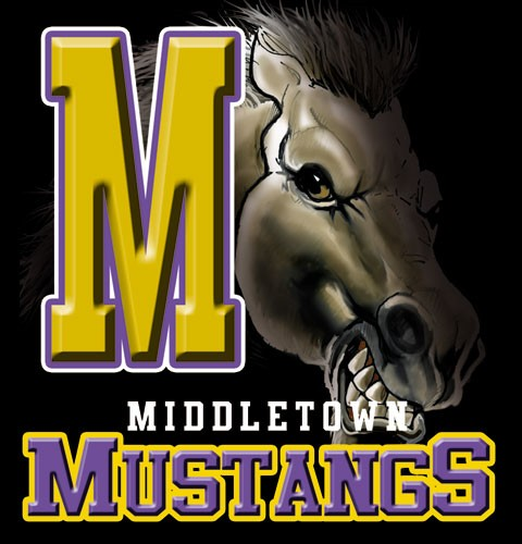 mustangs team or school letters tee - 9, 58 Tee
