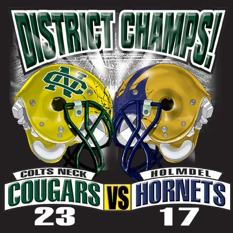 cougars, hornets district championship score tee - 6, 38 Tee