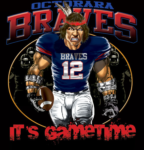 braves game time football tshirt - 6, 28 Tee
