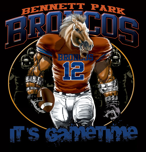 broncos game time football tshirt - 6, 28 Tee