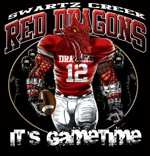 dragons game time football tshirt - 6, 28 Tee