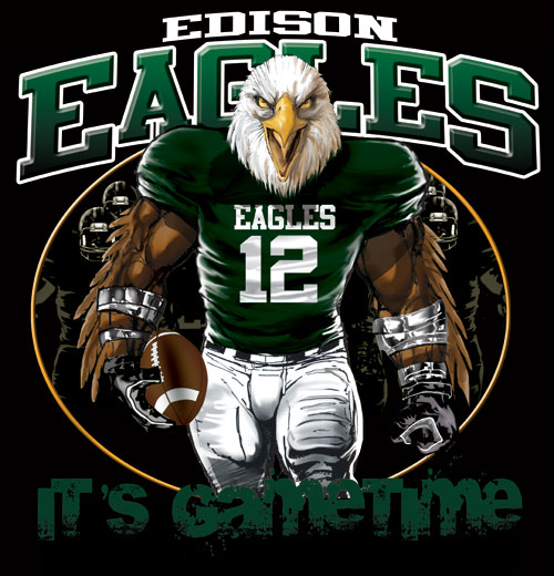 eagles game time football tshirt - 6, 28 Tee