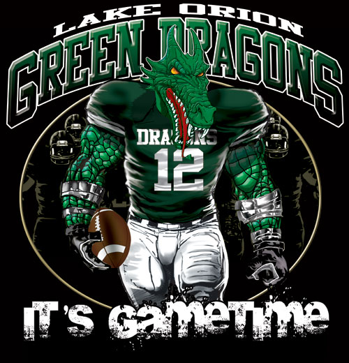 green dragons game time football tshirt - 6, 28 Tee