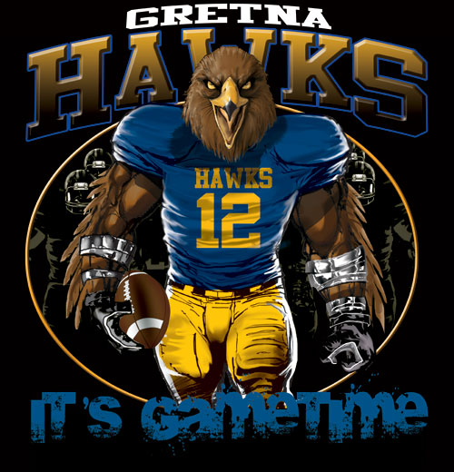 hawks game time football tshirt - 6, 28 Tee