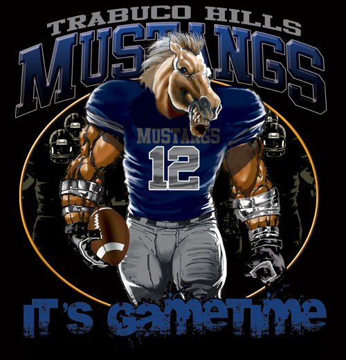 mustangs game time football tshirt - 6, 28 Tee