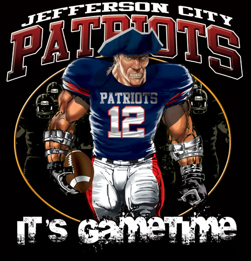 patriots game time football tshirt - 6, 28 Tee