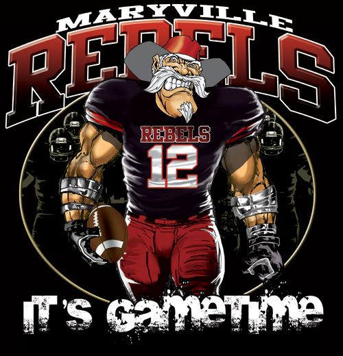 rebels game time football tshirt - 6, 28 Tee